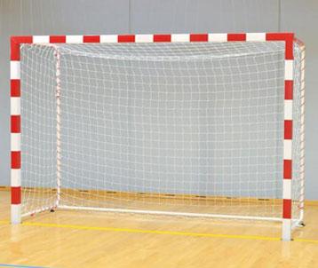 Buts de handball compétition acier peint bicolore avec barre de stabilisation