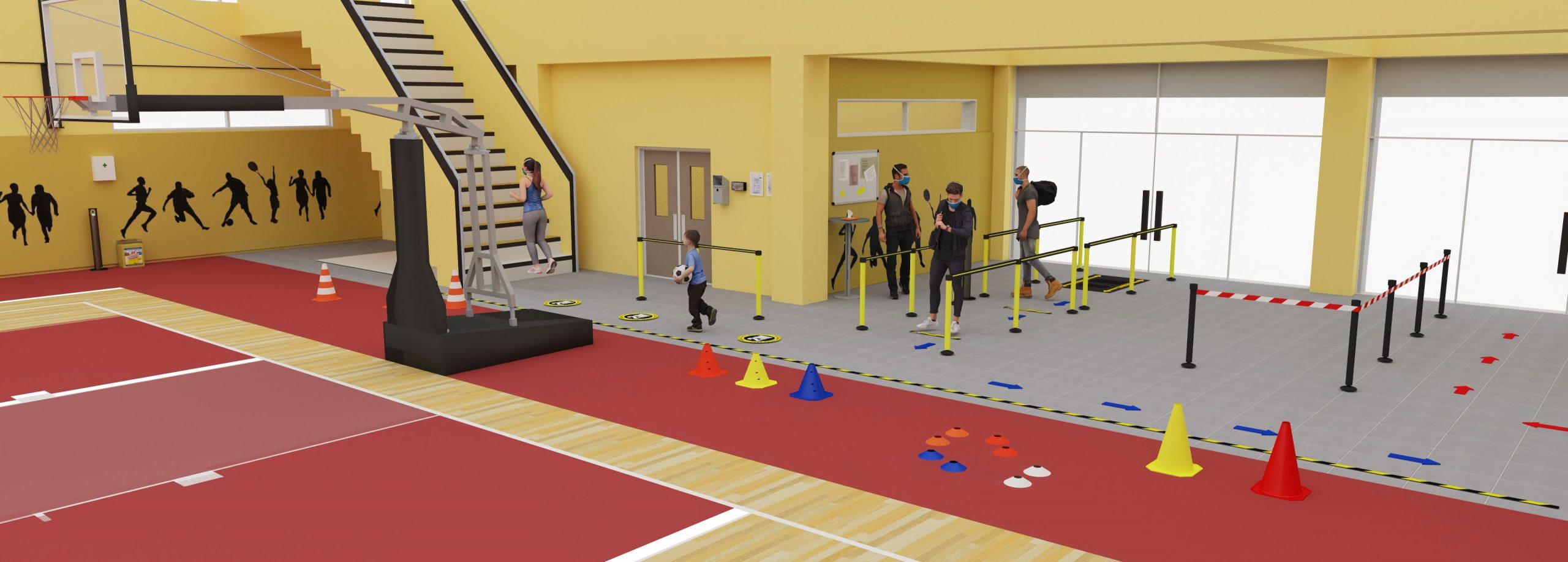 Plan d'un gymnase en 3D
