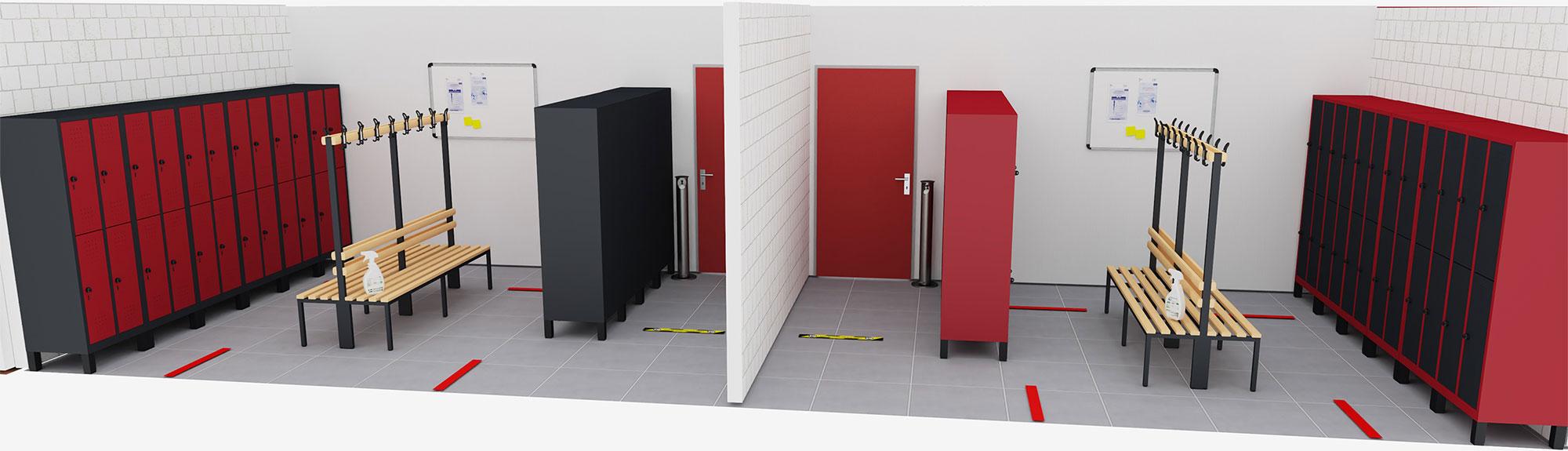 Plan d'un vestiaire en 3D
